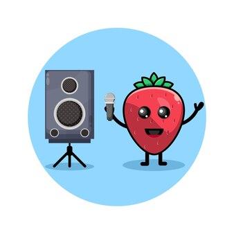 딸기 노래방 귀여운 캐릭터 로고
