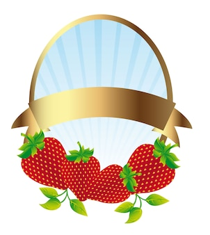 Strawberry label isolated