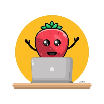 Strawberry laptop cute character logo