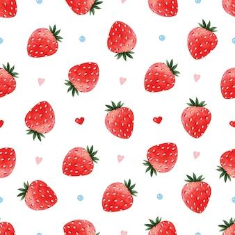 イチゴ愛水彩シームレスパターン
