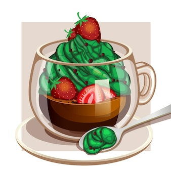 Клубничный крем-кофе матча с использованием формата