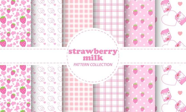 Strawberry milk seamless patterns