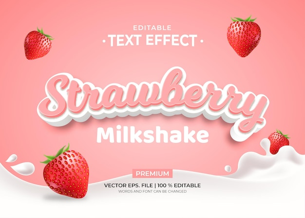 Strawberry milkshake editable text effect