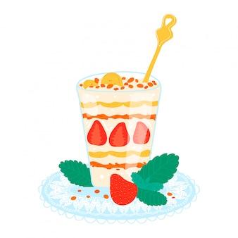 딸기 밀크 쉐이크, 건강 한 스무디 달콤한 크림 화이트, 만화 일러스트와 함께 칵테일. 식료품 과일 퓨레.