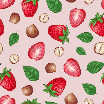 Strawberry nuts seamless pattern .vector illustration hand drawing