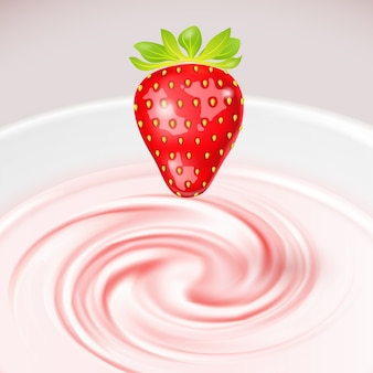 Клубника на йогурте