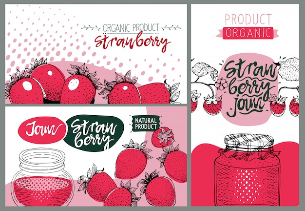 Strawberry party. set of cute creative card templates with strawberry jam.