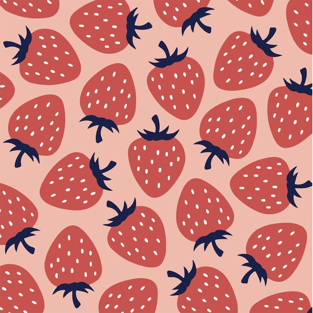 딸기 패턴 배경 소셜 미디어 게시물 과일 벡터 일러스트 레이 션