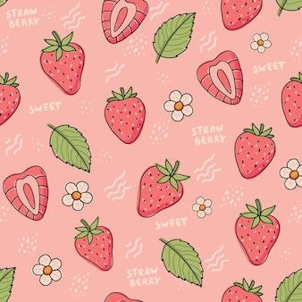イチゴのパターン落書きスタイルの花と葉を持つかわいいカラフルなイチゴ
