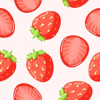 Strawberry pattern seamless vector