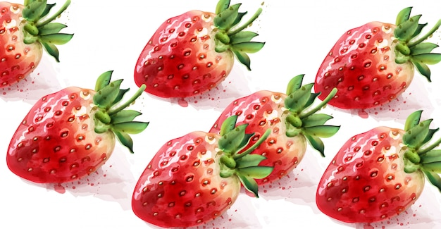Strawberry pattern watercolor