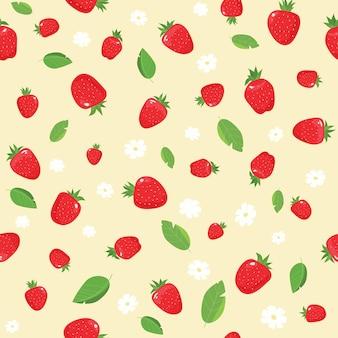 イチゴのパターン、白い背景で隔離の赤いイチゴ。イチゴの背景。ベクトルイラスト。