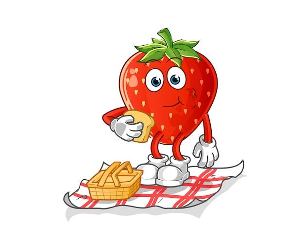 Strawberry on a picnic cartoon