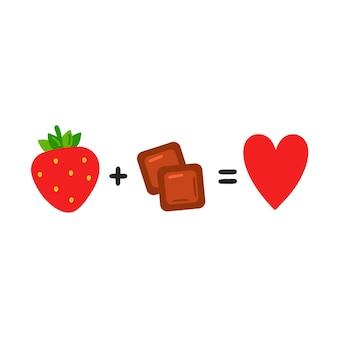딸기와 초콜릿은 사랑입니다. 귀여운 재미있는 포스터, 카드 그림입니다. 벡터 만화 그림 아이콘입니다. 흰색 배경에 고립. 초콜릿, 딸기, 재미있는 방정식 개념