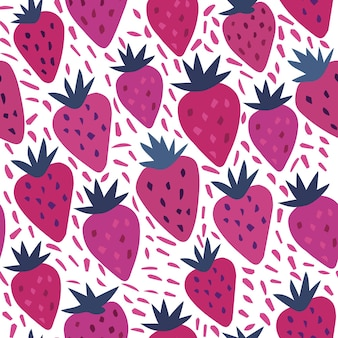 Strawberry and polka dot seamless pattern on a white background. summer fruit hand drawn strawberries wallpaper. template for kitchen design, package, home textile. vector illustration