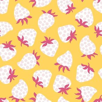 간단한 만화 유치 한 스타일에 딸기 땡 땡이 원활한 패턴 트렌드 벡터 배경