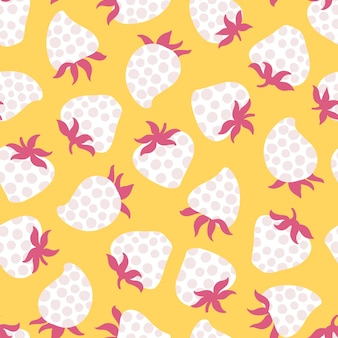 Strawberry polka dots seamless pattern trend vector background in simple cartoon childish style