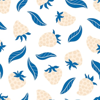 Strawberry polka dots seamless pattern with leaves trend vector background in cartoon