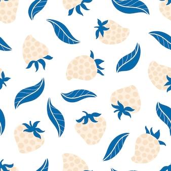 만화에서 잎 트렌드 벡터 배경으로 딸기 땡 땡이 원활한 패턴