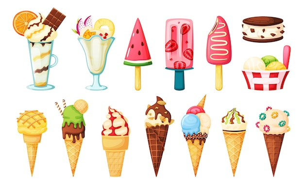 Strawberry popsicle, watermelon fruit iced, vanilla sundae, ice cream sandwich