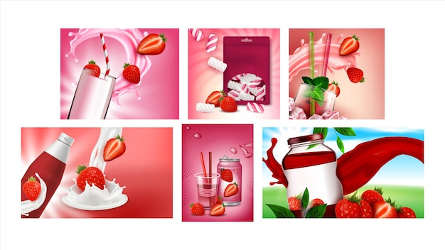 Strawberry product promotional posters set vector. strawberry soda drink and juice, milk cocktail, yogurt and marshmallows on advertising banners. style concept template illustrations