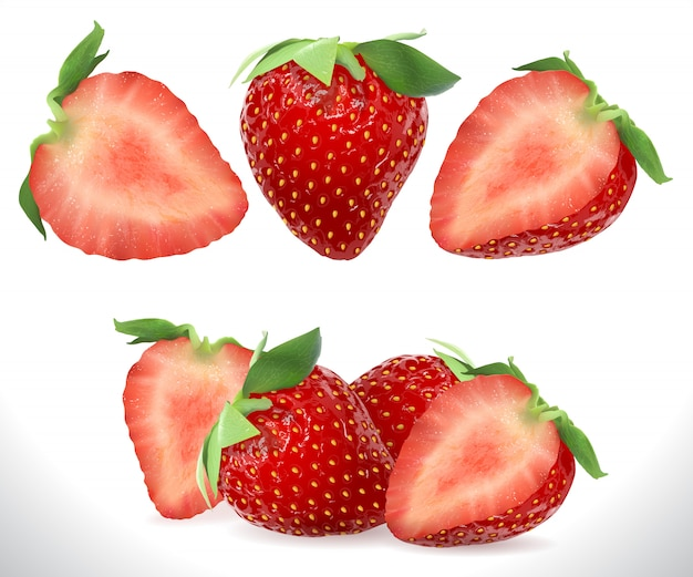 Strawberry realistic sweet berry 3d fruit
