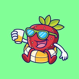 イチゴは浮き輪の漫画でリラックスします。フルーツベクトルアイコンイラスト、プレミアムベクトルで分離