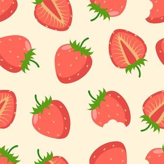 베이지색 바탕에 딸기 원활한 패턴입니다. 섬유, 가정 장식, 아기 옷, 인쇄, 디지털 종이용. 벡터 일러스트 레이 션.