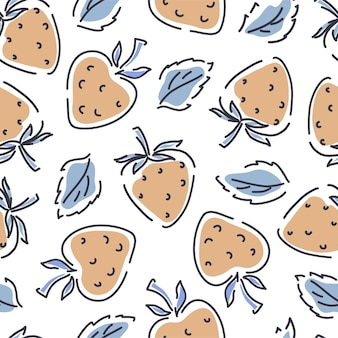 Strawberry seamless pattern on a white background. hand-drawn background with leaves and spots. vector illustration.