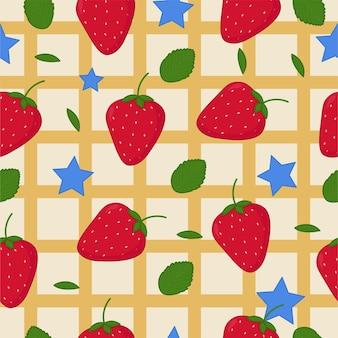 푸른 별과 녹색 잎이 있는 딸기 원활한 패턴