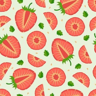 밝은 녹색 배경에 자른 여름 딸기가 있는 딸기의 매끄러운 패턴입니다. 섬유, 가정 장식, 아기 옷, 인쇄, 디지털 종이에 좋습니다.