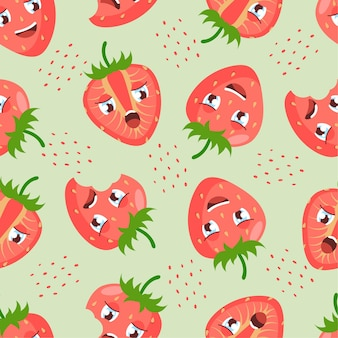 밝은 녹색 배경에 귀여운 만화 열매와 딸기 원활한 패턴입니다. 섬유, 가정 장식, 아기 옷, 인쇄, 디지털 종이에 좋습니다.