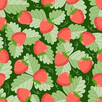 짙은 녹색 배경에 잎이 있는 딸기 원활한 패턴입니다. 섬유, 가정 장식, 아기 옷, 인쇄, 디지털 종이에 좋습니다.
