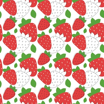 잎 벡터 일러스트와 함께 딸기 원활한 패턴