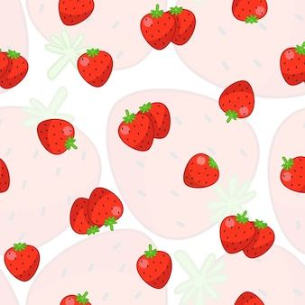 Strawberry seamless pattern with white background.