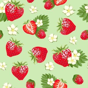 イチゴのシームレスなパターン。