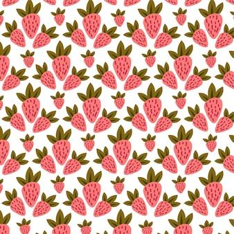イチゴのシームレスなベクトルパターンの背景ピンクのイチゴの背景
