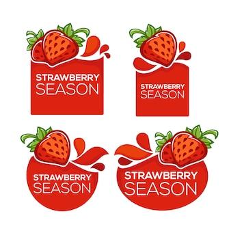 Клубничный сезон, коллекция соковых наклеек и ягодных символов для вашего текста