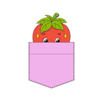 Strawberry in shirt pocket.