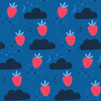 Strawberry in the sky, kids cute pattern for fabric and wallpaper. seamless background with clouds, moon and stars.