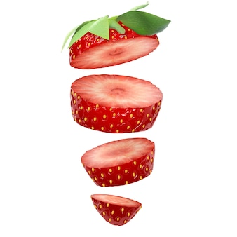 Strawberry slices isolated