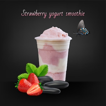 Strawberry smoothie or milkshake in jar on black background, healthy food for breakfast and snack, vector illustration.