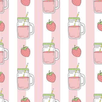 Strawberry smoothie  seamless pattern on background