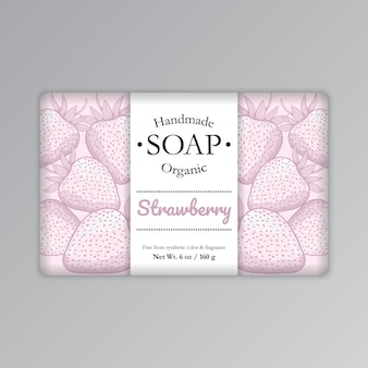 Strawberry soap bar packaging label template