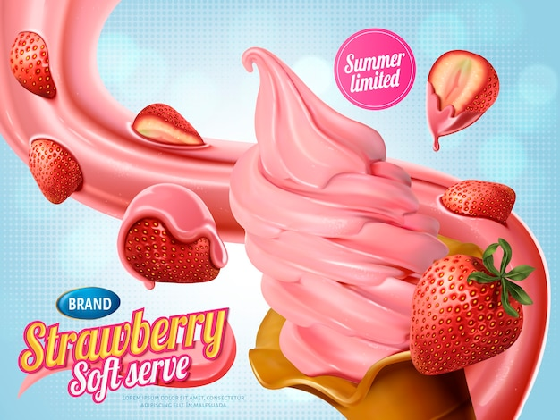Strawberry soft serve ice cream ads, realistic soft serve with floatg sauce and delicious fruits for summer