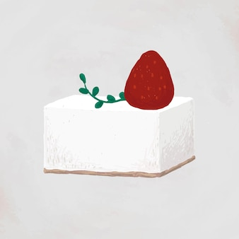 딸기 사각형 케이크 요소 벡터 귀여운 손으로 그린 스타일