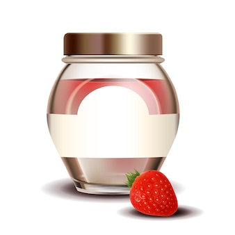 Strawberry sweet jam in blank glass bottle vector. jar with vitamin natural berry jam. home made sugary meal in glassware, delicacy healthy dessert template realistic 3d illustration