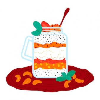 Strawberry tangerine cream milkshake, healthy smoothies cocktail isolated on white, cartoon illustration. foodstuff fruit puree.