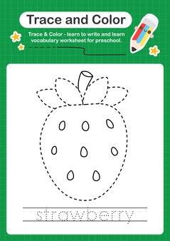 子供のためのイチゴのトレースと色の就学前のワークシートは、書く練習をします
