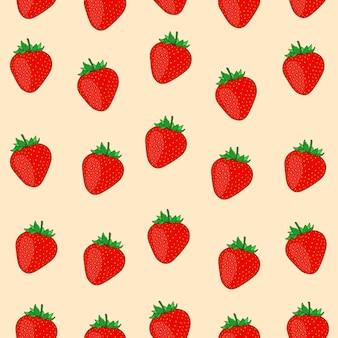 Strawberry vector seamless pattern, strawberry cartoon